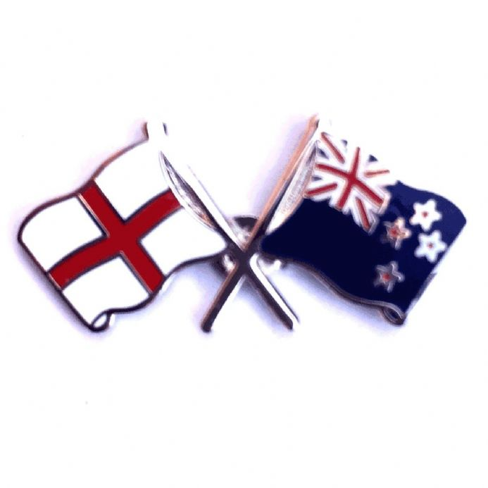 England Flag and New Zealand Flag Crossed Lapel Badge